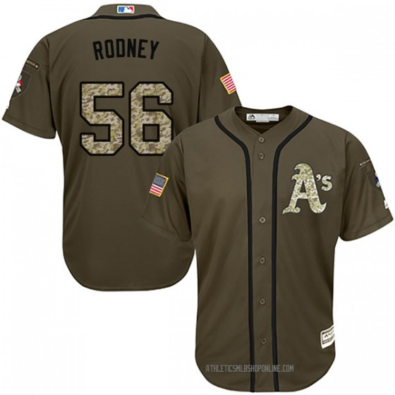 Men's Majestic Oakland Athletics Fernando Rodney Green Salute to Service Jersey - Replica