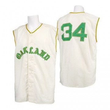 Men's Mitchell and Ness Oakland Athletics Rollie Fingers Cream 1968 Throwback Jersey - Authentic