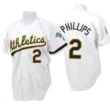 Men's Mitchell and Ness Oakland Athletics Tony Phillips White Throwback Jersey - Replica