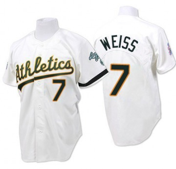 Men's Mitchell and Ness Oakland Athletics Walt Weiss White Throwback Jersey - Authentic