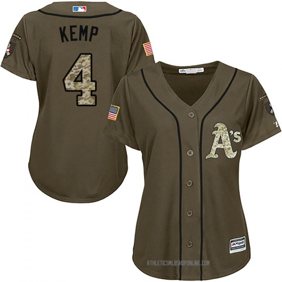Women's Majestic Oakland Athletics Tony Kemp Green Salute to Service Jersey - Authentic