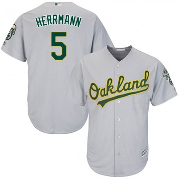 Youth Majestic Oakland Athletics Chris Herrmann Gray Cool Base Road Jersey - Replica
