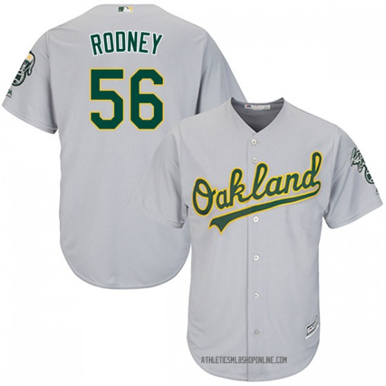 Youth Majestic Oakland Athletics Fernando Rodney Gray Cool Base Road Jersey - Authentic